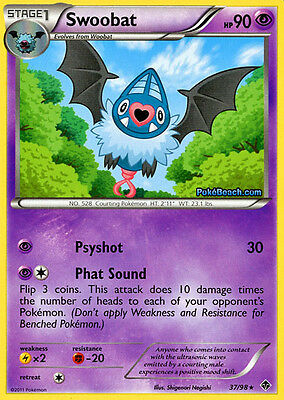Bw Emerging Powers Pokemon Reverse Holo Rare Card - Swoobat 37/98