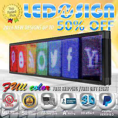 """Led Sign: Full Color 12""""x69"""" Programmable Emc Scrolling Readerboard Outdoor Sign"""