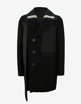 New Rick Owens Black Wool Caped Sphinx Peacoat Jacket Size 52 Rrp £1860
