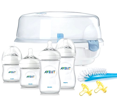 Philips Avent Natural Essentials Baby Bottle Gift Set Feeding Brush Sterilizer