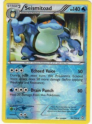 Seismitoad 36/124 B&W Dragons Exalted REVERSE HOLO PERFECT MINT! Pokemon