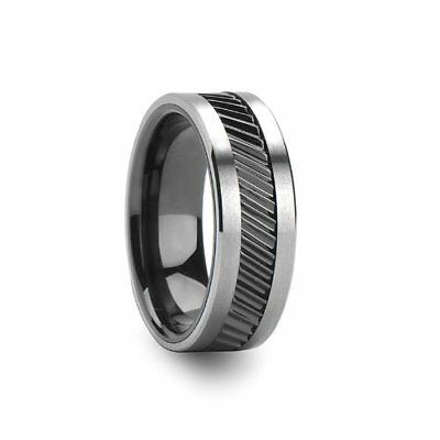 Helix Gear Teeth Pattern Black Ceramic And Tungsten Ring - 8mm - Free Engraving,