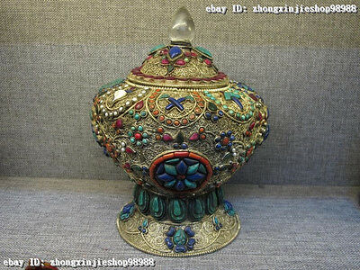 Nepal Crystal Silver Inlay Turquoise Red Coral Ruby Beryl Tibet Lucky Pot Vase