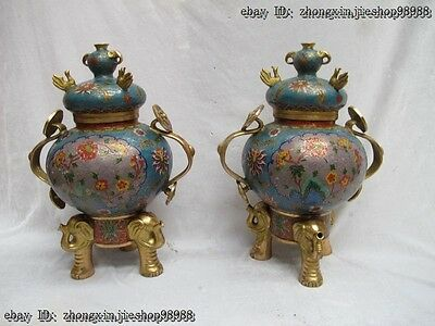 China Royal 100% Bronze Gild Cloisonne Phoenix Bird Elephant Vase Pot Crock Pair