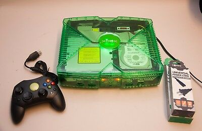 Modded Original Xbox Green Ghost Case Led Coinops 8 - 4000+ Retro 71 Xbox Games