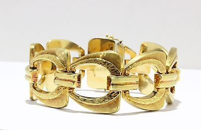 French Retro 18k Gold Wide Open Link Vintage Bracelet