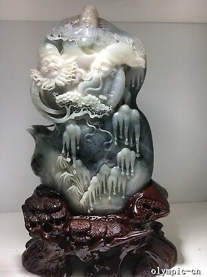 Chinese Dushan Jade Sculpture Three Lucky Men Plum Blossom Bamboo Pot  Teapots