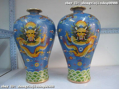 Royal 100% Bronze Cloisonne Two Dragon Play Ball Bead Mei Bottle Pot Vase Pair