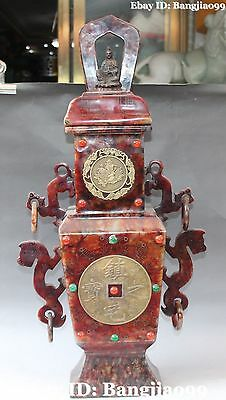 "27"" Old Chinese Bronze Jade Carving Dragon Kwan-yin Flower Vase Bottle Statue"