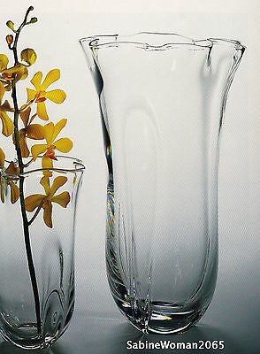 New In Box Steuben Glass Tall Sea Wave Vase Bowl Crystal Ornament Orchid Rose