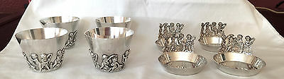 8 vintage william b meyers sterling silver putti arts and crafts cups and dishes