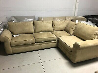 Pottery Barn Pearce Couch Sofa Oat Everyday Suede Round Arm Left Arm Sofa
