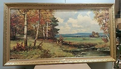 """Vintage* Art* Robert Wood """"pine And Birch"""" Framed  Reproduction Print  Signed"""