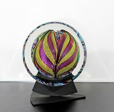 Contemporary Art Glass On Base Table Sculpture Signed Dated Rollin Karg 2002