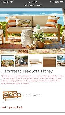 Pottery Barn Teak Patio Couch W/ Sunbrella Cushions In  Natural *new*