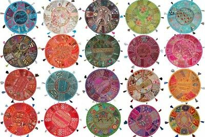 50 Pc Lot Home Decor Vintage Patchwork Round Floor Pillow Cover Throw 18""