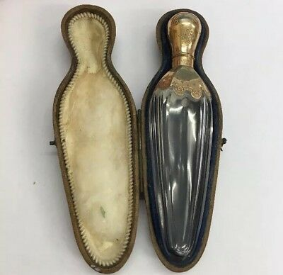 Antique Tested 9ct Gold Scent Bottle Foreign Mark Probably French Cased