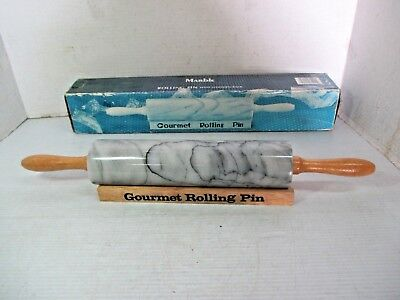 Gourmet Rolling Pin - Marble With Wooden Rack & Handles In Original Box