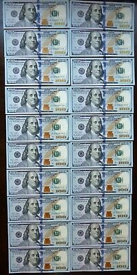 20 new uncirculated consecutive $100 bills highly collectible u.s. currency