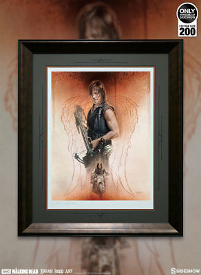 Sideshow Walking Dead The Drifter Daryl Dixon Fine Art Framed Print Signed New