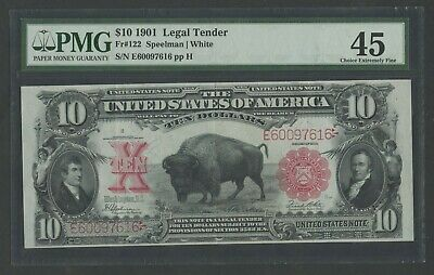 "Fr122 $10 1901 Legal Tender ""bison"" Note Pmg 45 Choice Xf Wlm7644"