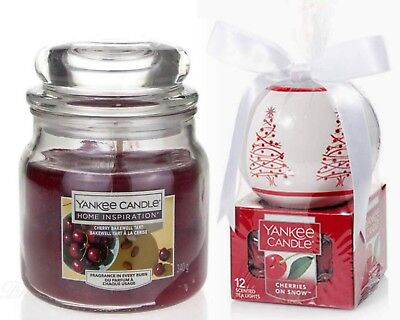 2 Yankee Candle-12 Cherries On Snow Tea Lights-1cherry Tart Bakewell Medium Jar
