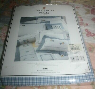 Laura Ashley Lifestyles Blue/white Plaid Lined Cotton Blouson Valance~87x16 In.