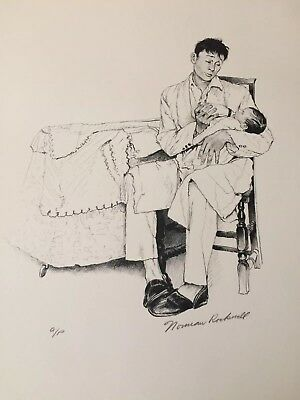 "1976 Norman Rockwell American Family Signed Print A/p- ""two O"