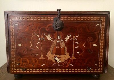 Virgin Of The Mercedarias Bargueño Chest Wooden Marquetry Colors Ivory 19th