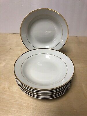 (8) Gibson Housewares Coupe Soup Cereal Bowls White Gold Band & Trim
