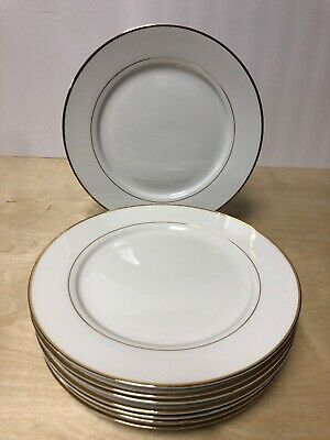 (8) Gibson Housewares Dinner Plates White Gold Band & Trim 10 1/4""