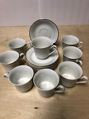 Gibson Housewares Cup & Saucer White Gold Band & Trim Set Of 8