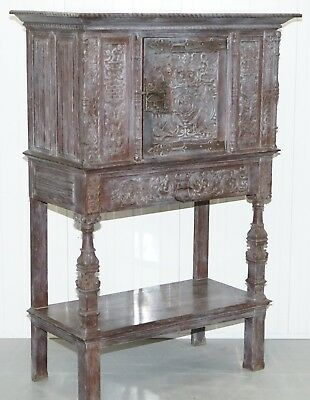 Stunning Rare Find 17th Century Limed Oak Pot Kitchen Cupboard Hand Carved