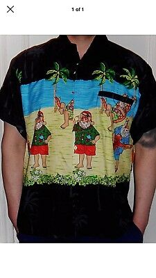 Mens Loud Black Santa On Vacation Palm Tree Paradise Australian Hawaiian Shirt M