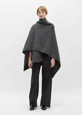 lauren manoogian cashmere wrap poncho in charcoal (os)