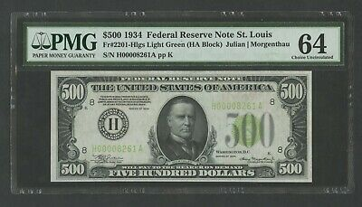 Fr2201-h $500 1934 Frn St Louis Light Green Seal Pmg 64 Very Choice Unc Wlm8282