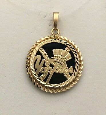 *awesome* 14k New York Yankee Baseball Black Onyx Disc Sports Pendant Charm