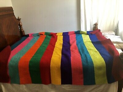 Vintage Handmade Crochet Colourful Multicolor Stripes Afghan Blanket,size 102x93