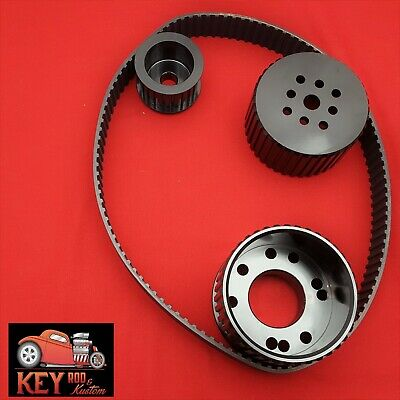 Small Block Chevy Gilmer Belt Drive Black Pulley Set Long Water Pump Sbc 350 400