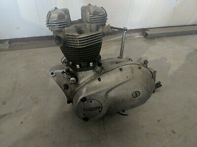 Triumph T120 Engine Chopper Bobber 650 1960s 1970s Vintage Bsa Turns Over