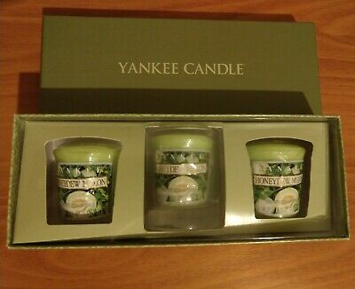 Honeydew Melon Yankee Candle 3 Pack Sampler Gift Set With 1 Glass Votive Holder