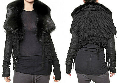 Rick Owens Palais Royal / Hun  Black Fur Leather Knitted Sweater Jacket Us 4
