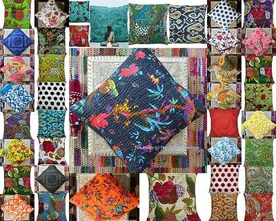 "50 Kantha Cotton Assorted Cushion Cover Throw Pillow Handmade 16""wholesale Lot"