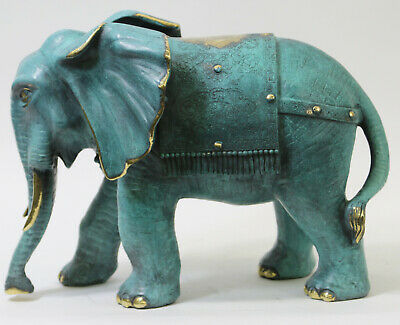 Hot Cast Bronze Baby Elephant Walking Infant In Italian Green Bronze Statue Sale