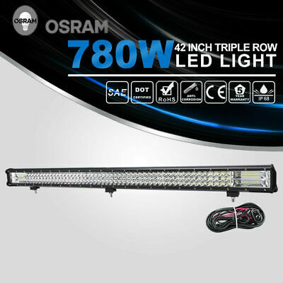 780w 42 Inch Led Driving Light Bar Triple Row Combo Beam Offroad W/dt Wiring Kit