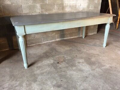 Large Rectangular Louis Xvi Style Table In Light Blue Powder Lacquer