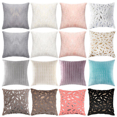 Throw Pillow Cover Case Velvet Soft Striped Feather Sequin For Sofa Cushion Case