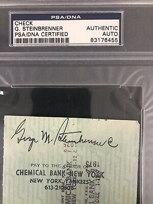 George Steinbrenner Signed Check Autograph Psa Dna Yankee Payroll Scarce 1975