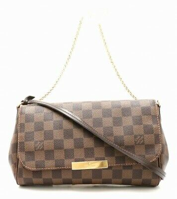 Louis Vuitton Favorite Mm N41129 Canvas Chain Tote Bag Damier Excellent++ Used