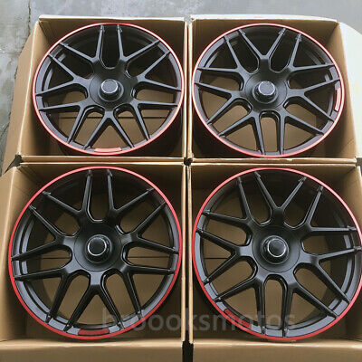 """22"""" Edition 1 Style Wheels Rims Fits Mercedes Benz W464 G63 Red Lip Offset36"""